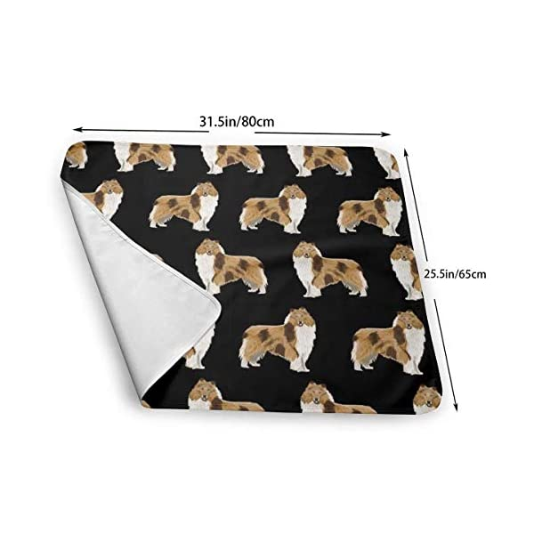 Rough Collie Dog Fabric Cute Rough Collie Print Pattern for Sewing Quilters Cute Dog Design Baby Portable Reusable Changing Pad Mat 25.5 x 31.5 3