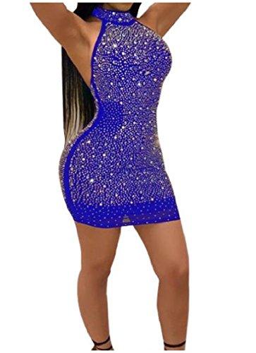 Out Mesh Cut Silm Party Dress Stitch Rhinestone Halter Back Women Fit Blue Coolred Nightclub 8q1HHF