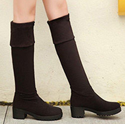 Idifu Stretchy Platform Voor Dames Half Dikke Hakken Over De Knie-laarzen Dijbeentjes Zwart