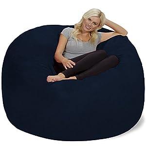 Chill Sack Bean Bag Chair: Giant 6' Memory Foam Furniture Bean Bag - Big Sofa with Soft Micro Fiber Cover - Navy