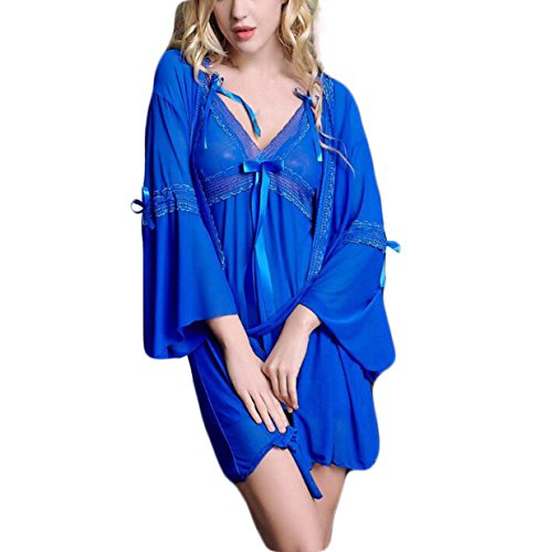 Pijamas De La Diversión Del Cordón Atractivo De Europa Linda Chica Blue
