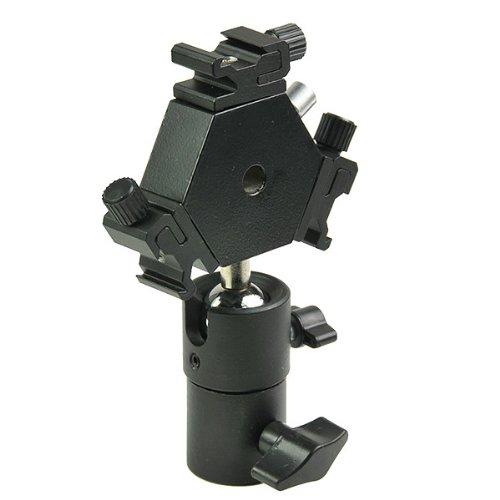 ePhoto H6704 Triple Hotshoe Mount Flash Bracket 3-Way with Umbrella holder for Nikon Canon Pentax Sigma