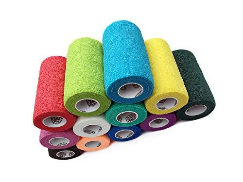 - WildCow Vet Wrap Bulk Bandage Tape (4 Inch 12 Color Pack), Waterproof Self Adherent Cohesive Rolls
