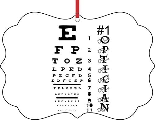 #1 Optician-Eyesight Chart-TM Double-Sided Benelux Aluminum Holiday Hanging Tree Ornament. Made in the USA!