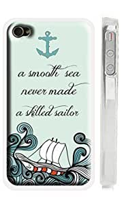 Ship Sea Anchor iPhone 4s Case - A Smooth Sea Never Made a Skilled Sailor - Quote iPhone 4 Case - USA Made