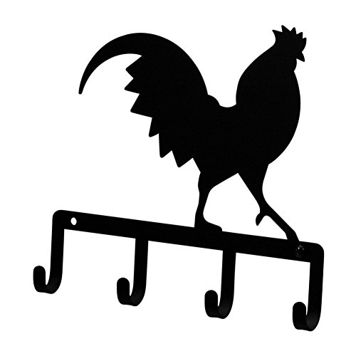 Iron Rooster Key Rack - Jewelry Holder - Pet Leash Hanger - Black - Rack Cut Laser Luggage