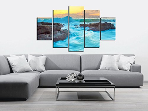 PulsatingFingertip-5 PCS Unframed Blue Seascape Group Oil Painting on Canvas Blue Ocean Rock Canvas Print Wall Art Home Decorative for Living Room Deco