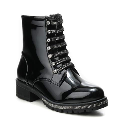 Glitzer Glamour Profilsohle Glanz Strass Lack Schuhe Damen Boots HERIXO Chunky Stiefeletten Bänder Glitter Military Glatt Black Steine Glitter wxB10qZU4