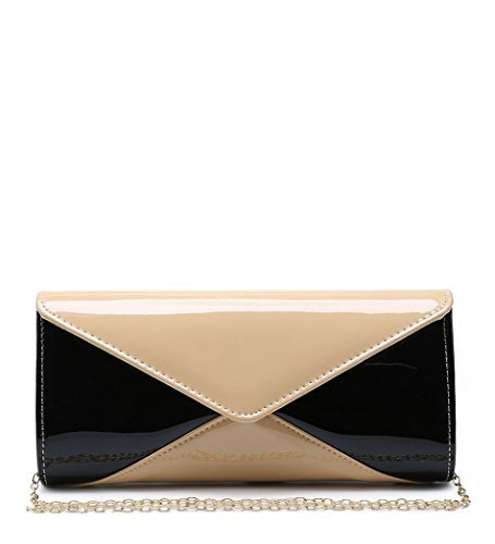 Clutch Beige Prom Patent Bags Womens Faux Dressy Leather Party Hand Ladies Evening Occasion P51 6I6vxqwOPn