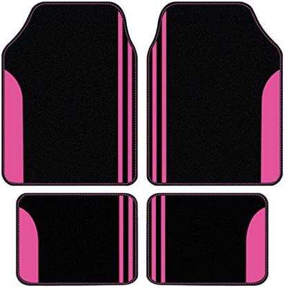 Flying Banner Universal Size Carpet Floor mats Anti-Slip Waterproof Lady Femal Colorful fit for SUV, Trucks, sedans, Vans, Set of 4 (Pink Black)