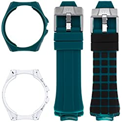 TechnoMarine Men's TechnoMarine Blue Silicone Band Steel Case Quartz Black Dial Analog Watch 115177