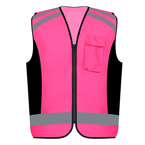 Safety Vest Reflective stripes Women outdoor utility Safety Hi-vis knitted Vest Bright Construction Vest for girl and women.PINK Meets ANSI/ISEA Standards (Medium) (Pink Womens Safety Vest)