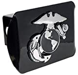 United States US Marine Corps USMC ''Black with Chrome EGA Emblem'' Metal Trailer Hitch Cover Fits 2 Inch Auto Car Truck Receiver