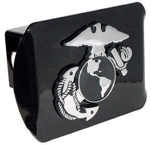 (Elektroplate United States US Marine Corps USMC Black with Chrome EGA Emblem Metal Trailer Hitch Cover Fits 2 Inch Auto Car Truck Receiver)