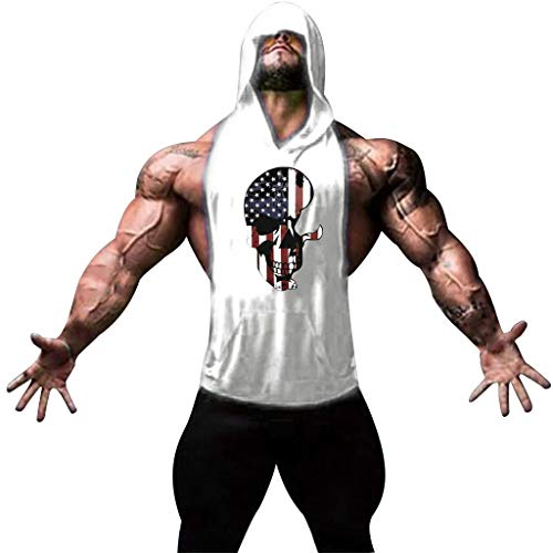 RAINED-Mens Tank Top American Flag Skull Tank Gym Workout USA Tank Cool Sleeveless T-Shirts Bodybuilding Hoodie Shirts White