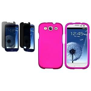 Privacidad Protector Rosa Fuerte Goma Funda Para Samsung Galaxy S3 III 4G i9305