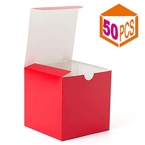 (MESHA Kraft Boxes,Brown Paper Gift Boxes with Lids for Gifts, Crafting, Cupcake Boxes,Boxes for Wrapping Gifts,Bridesmaid Proposal Boxes 50PACK (Red, 4x4x4 Inch))