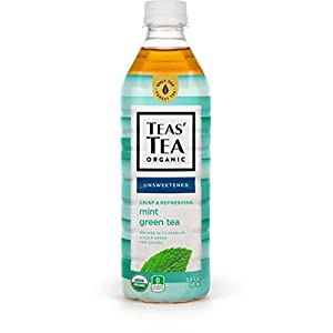 Teas' Tea Unsweetened Mint Green Tea, 16.9 Ounce (Pack of 12), Organic, Zero Calories, No Sugars, No Artificial Sweeteners, Antioxidant Rich, High in Vitamin C