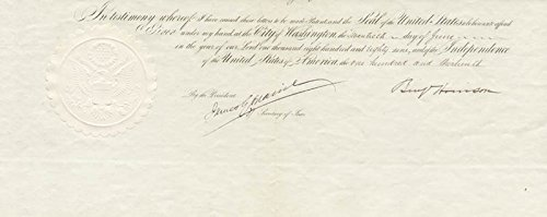 President Benjamin Harrison - Printed Document Fragment Signed In Ink 06/20/1889 with co-signers