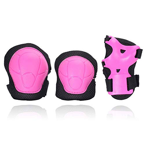 eNilecor Kid's Knee Pads Elbow Pads Wrist Guards for Skateboarding Cycling Inline Skating Roller Blading Protective Gear Pack of 6 (Hot Pink/Black, ()