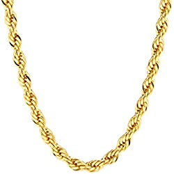 Gold Rope Chain 6MM, 24K Overlay Premium Fashion Jewelry, Pendant Necklace, Resists Tarnishing, GUARANTEED FOR LIFE, 30 Inches