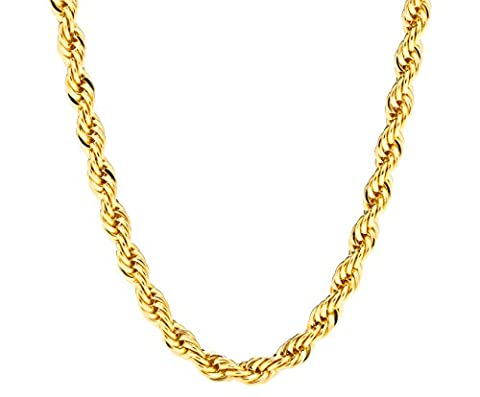 Lifetime Jewelry 6MM Rope Chain, 24K Gold with Inlaid Bronze, Premium Fashion Jewelry, Pendant Necklace Made to Wear Alone or with Pendants, Guaranteed for Life, 22 - 18k Rope Necklace
