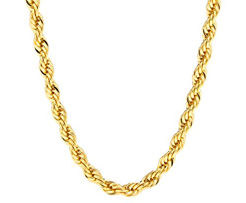 14k Braid Necklace (Lifetime Jewelry 6MM Rope Chain, 24K Gold with Inlaid Bronze, Premium Fashion Jewelry, Pendant Necklace Made to Wear Alone or with Pendants, Guaranteed for Life, 24 Inches)