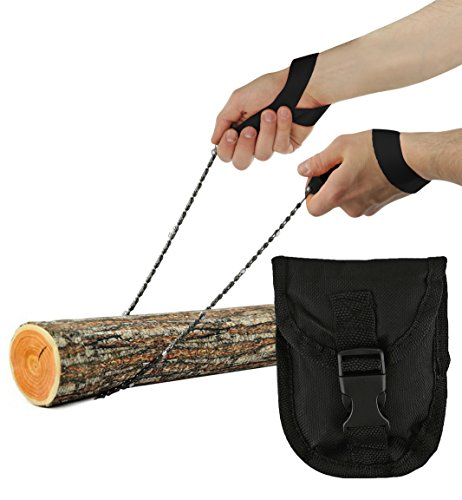 Pocket Chainsaw - Razor Sharp Self Cleaning 25.5 In Portable Hand Saw Survival Gear with Black Holster for Camping, Hunting, Hiking | Pocket-sized 25.5' Emergency Wilderness Survival Chain Saw