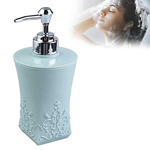 KOBWA Refillable Emulsion Bottle with Labor Saving Pump, 3D Carved Flower Patterns Lotion Soap Dispenser Bathroom Accessories for Liquid Soap, Lotion, Shampoo, Conditioner 400ML / 13.5 Oz