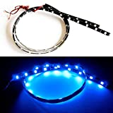SOCAL-LED 2x 60cm 24'' Blue Flexible LED Strips High Power Bright 5050 12 SMD Car DRL Under Dash Accent Light, Waterproof, Cuttable