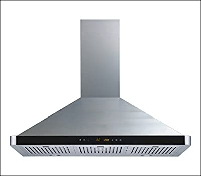 "Winflo 36"" Wall Mount Stainless Steel Convertible Kitchen Range Hood with 450 CFM Air Flow, Touch Control, Stainless Steel Baffle Filters and Ultra Bright LED Lights"