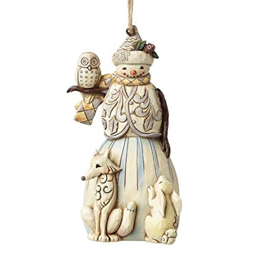 Jim Shore Heartwood Creek White Woodland Snowman Stone Resin Hanging Ornament, 4.6