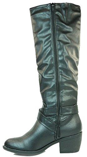 Black manfield Manfield Botas Dolcis Boot Mujer Para Riding wUUR6ngqA