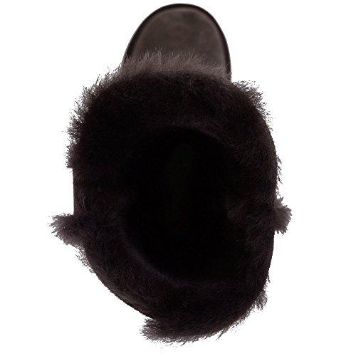 Damen Echt-Schafsleder Halbstiefel mit Knopf-Design von Bushga ( Schwarz, schokoladenbraun, haselnussbraun, grau, violett ) Schokoladenbraun