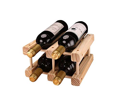 (Waitousanqi 4 Bottles of Solid Wood Wine Rack Living Room Cabinet Display Stand / L23cm × W26cm × H13cm q45)