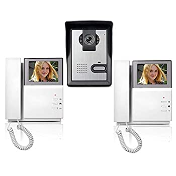 Image of AMOCAM Wired Video Intercom Doorbell System 4.3 Inches Clear LCD 2- Monitor Video Door Phone Bell Kits IR Night Vision Camera Door Bell Intercom Doorphone Telephone style 1V2
