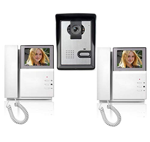AMOCAM Wired Video Intercom Doorbell System 4.3 Inches Clear LCD 2- Monitor Video Door Phone Bell Kits IR Night Vision Camera Door Bell Intercom Doorphone Telephone style 1V2