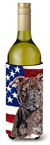 Staffordshire Bull Terrier Staffie with American Flag USA Wine Bottle Beverage Insulator Hugger SC9633LITERK