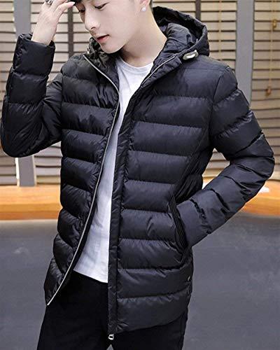Side Winter Rm Jacket Schwarz Jackets Jacket Outerwear Sleeve Long Apparel Warming Pockets Parka Hooded Coat Jacket Men's qvdFwxq