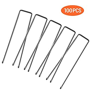Ohuhu 100 Pack 6 Inch Steel Garden Stakes Landscape Staples, Thicken 11-Gauge Anti-Rust Heavy Duty Garden Staples, Sod Fence Pins for Landscaping, Ground Cover, Weed Barrier Fabric, Irrigation Tubing