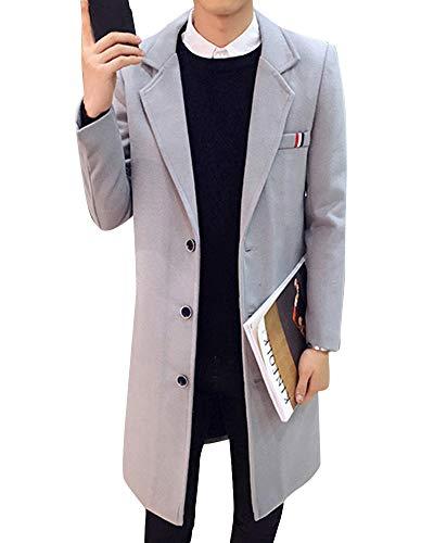 Outwear Casual Imbottita Trench Lungo Parka Uomini Sottile Chiaro Giacche Affari Solido Di Grigio Moda Moda Alla vwCw1x5q