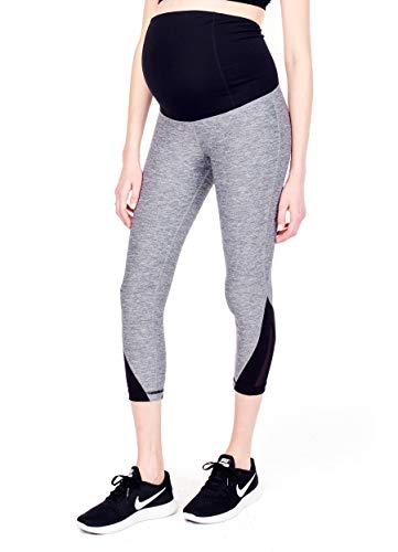 Ingrid & Isabel Women's Active Mesh Detail Capri with Crossover Panels, Charcoal...