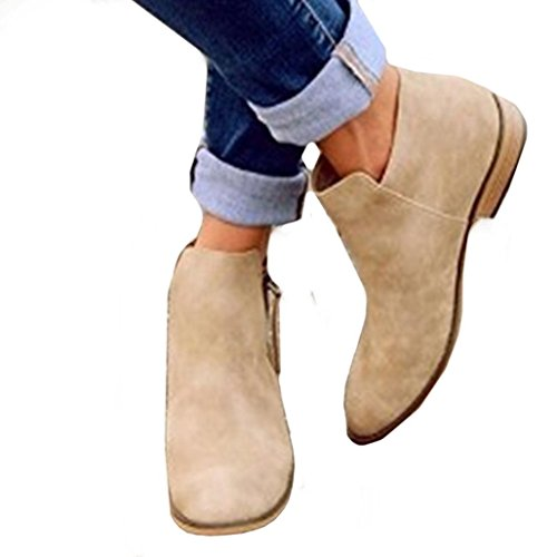 Women Fashion Sandals Boots,Todaies Ladies Women Spring Fashion Casual Pointed Flat Shoes Nude Shoes Zipper Boots (US:9, Khaki) by Todaies-Women Boots
