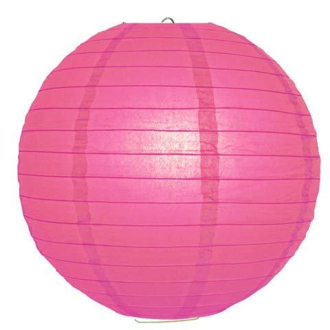 Hot Pink Round Paper Lanterns-24 - Eyelet Rice Lanterns Paper