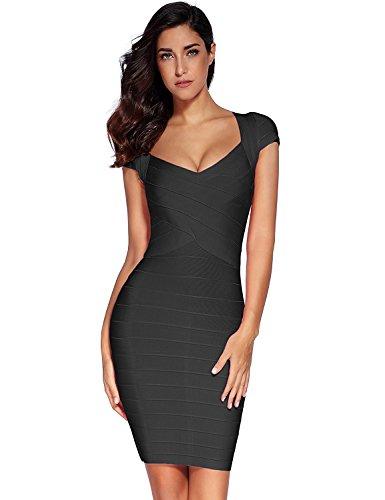 Meilun Women's Bandage Dress Square Neck Bodycon Party Dress (X-Large, Black) ()