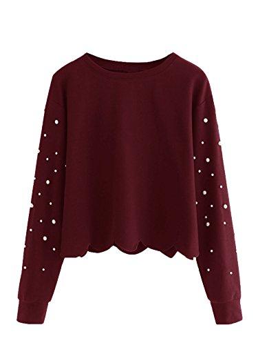 (ROMWE Women's Casual Long Sleeve Scalloped Hem Crop Tops Sweatshirt Maroon-Pearl M )