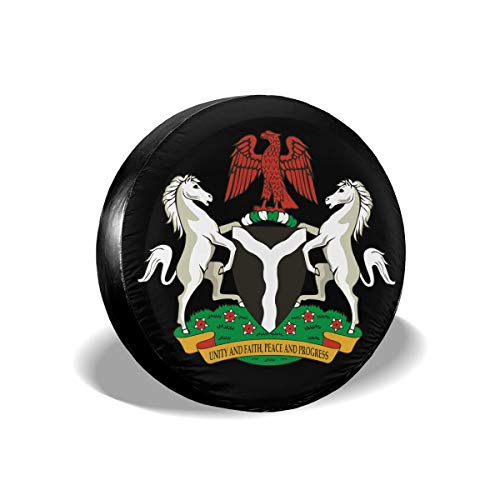 e Tire Cover Coat of Arms of Nigeria Polyester Waterproof Dust-Proof Tire Protectors Fit for Trailer, Jeep,RV, SUV and Many Vehicle - 14 Inch ()