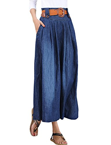 Tanming Women Dark Blue Casual Loose Denim Long Skirts (Large, Blue)