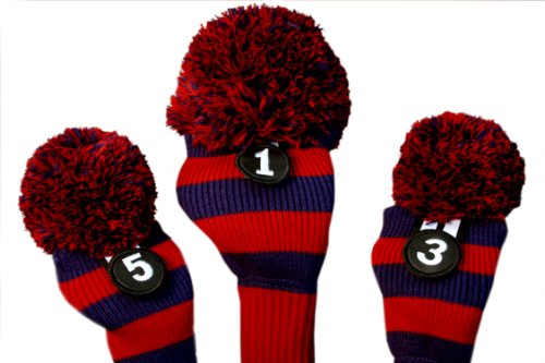 Majek Blue Red Golf Club Head Covers Retro Throwback Classic Premium Limited Edition Pom Pom Style Knit Headcover Set Fits up to 460cc Big Rocket Drivers and Metal Fairway Woods. -