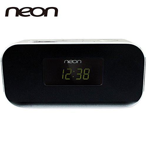 5BT-37 Clock radio with perfect sound, Bluetooth, Dual Alarm and 20 FM radio station presets (Better Neon Clock)